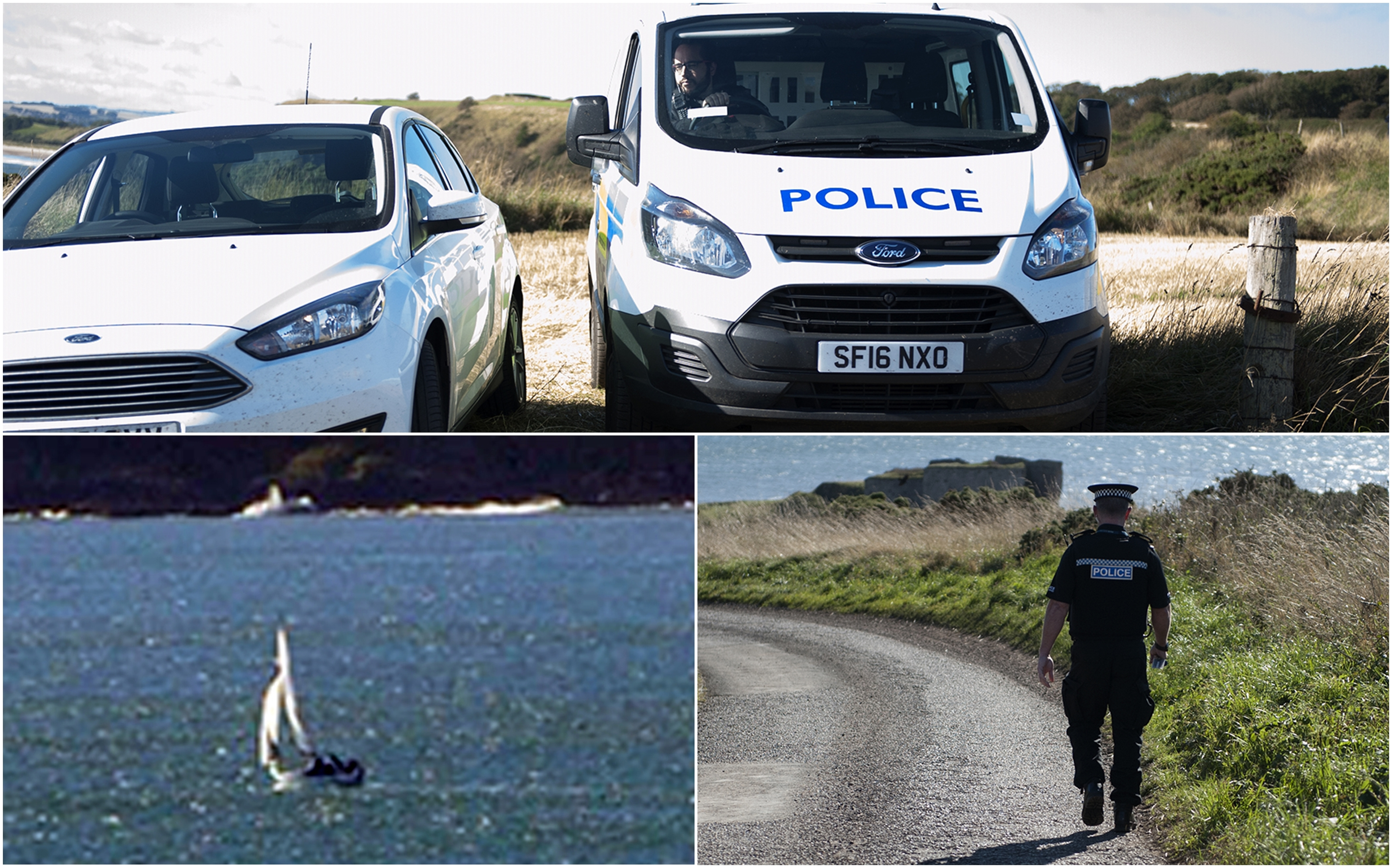 Police at Lunan Bay after the yacht Osprey was spotted offshore.