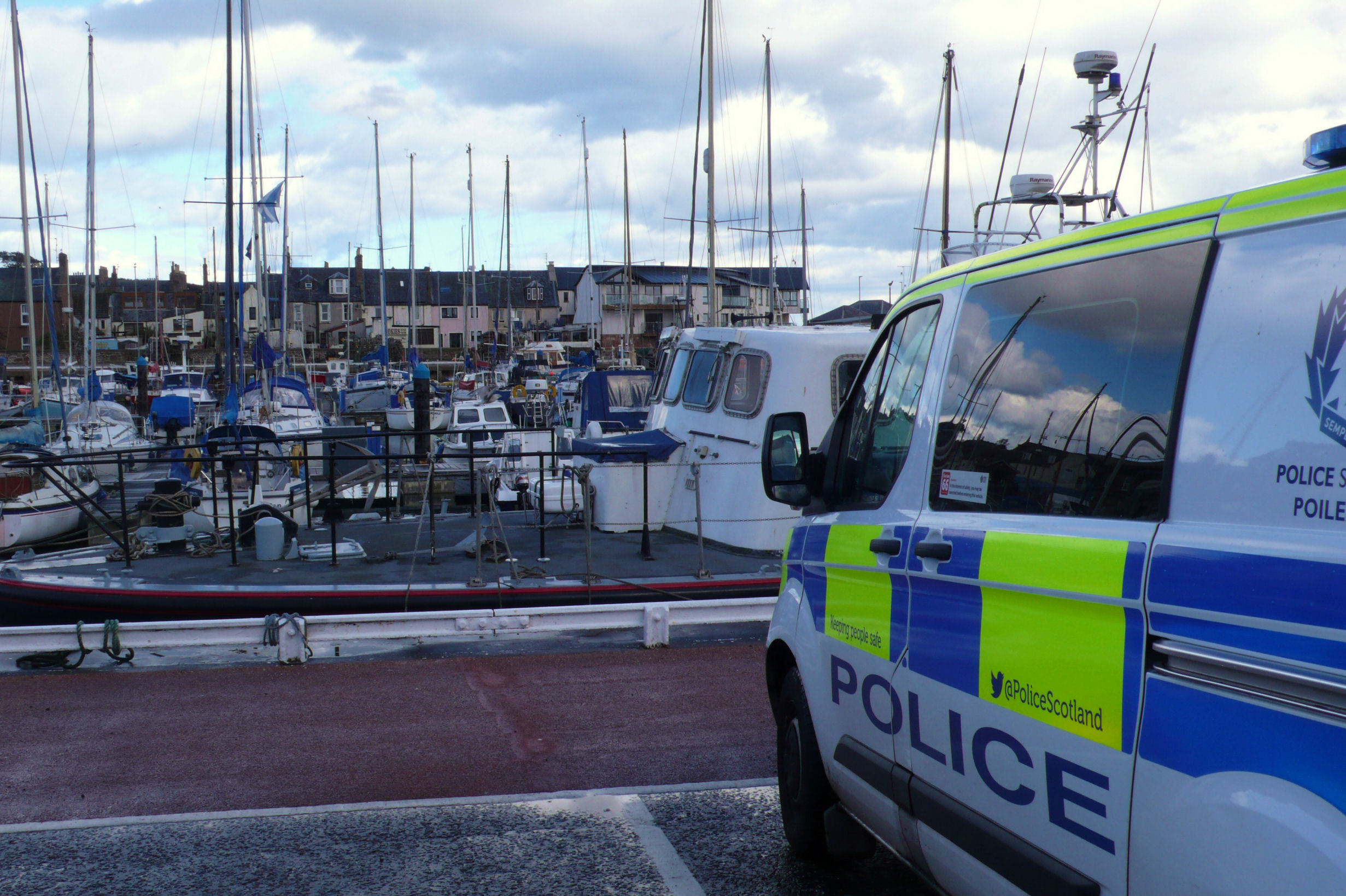 The boat was berthed in the busy Angus marina