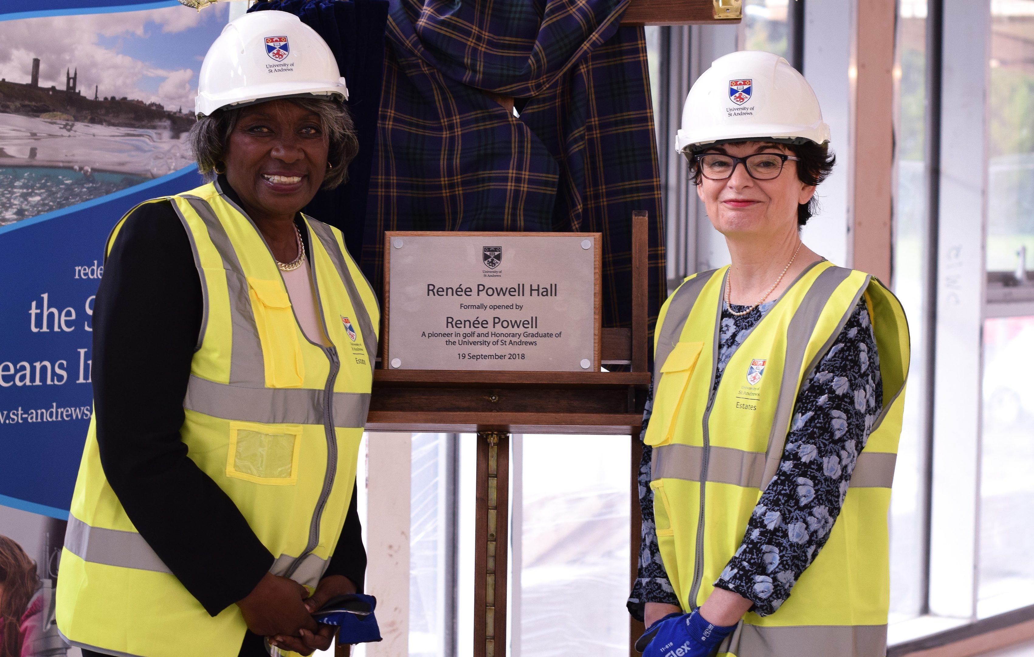 Renee Powell and Sally Mapstone in the new halls of residence