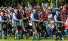 Pipe bands parade at the Pitlochry Games.