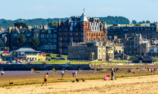 A sunny day at St Andrews West Sands.