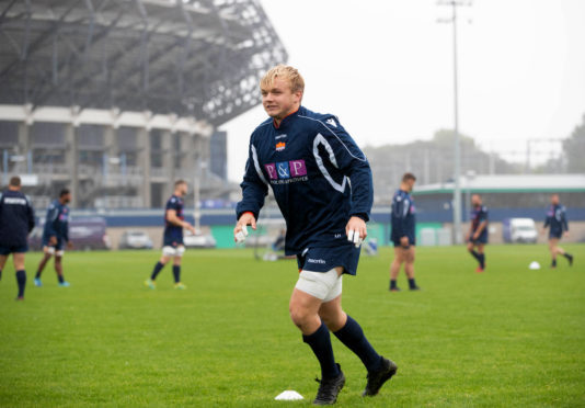 Edinburgh's Luke Hamilton in training at BT Murrayfield.