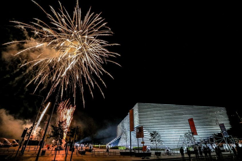 Fireworks at the V&A Dundee light show on Friday.