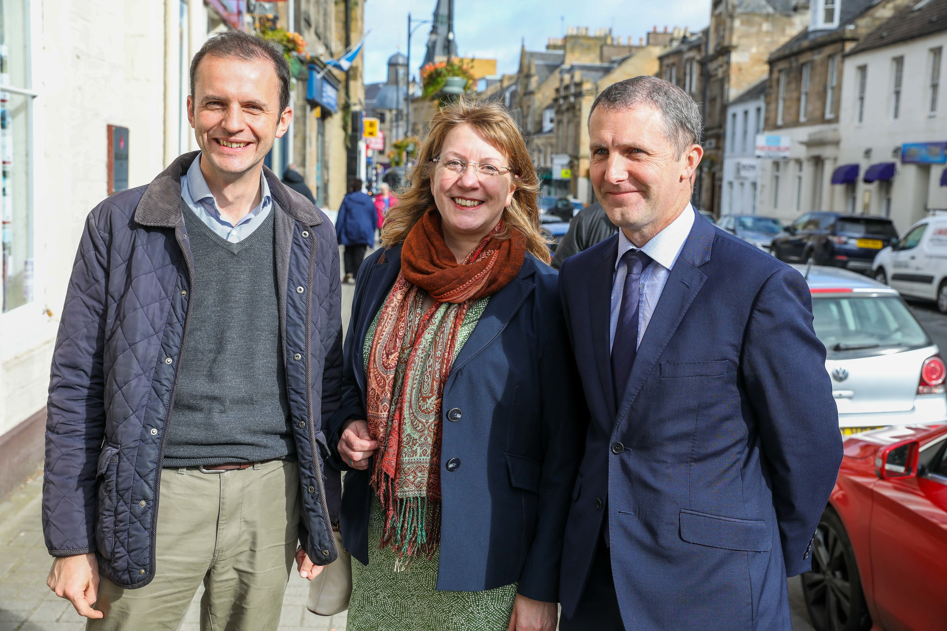 Local MP Stephen Gethins, Councillor Karen Marjoram and Scottish connectivity secretary Michael Matheson.