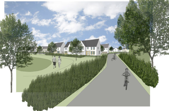 Graphic of cycle path at Almond Valley.