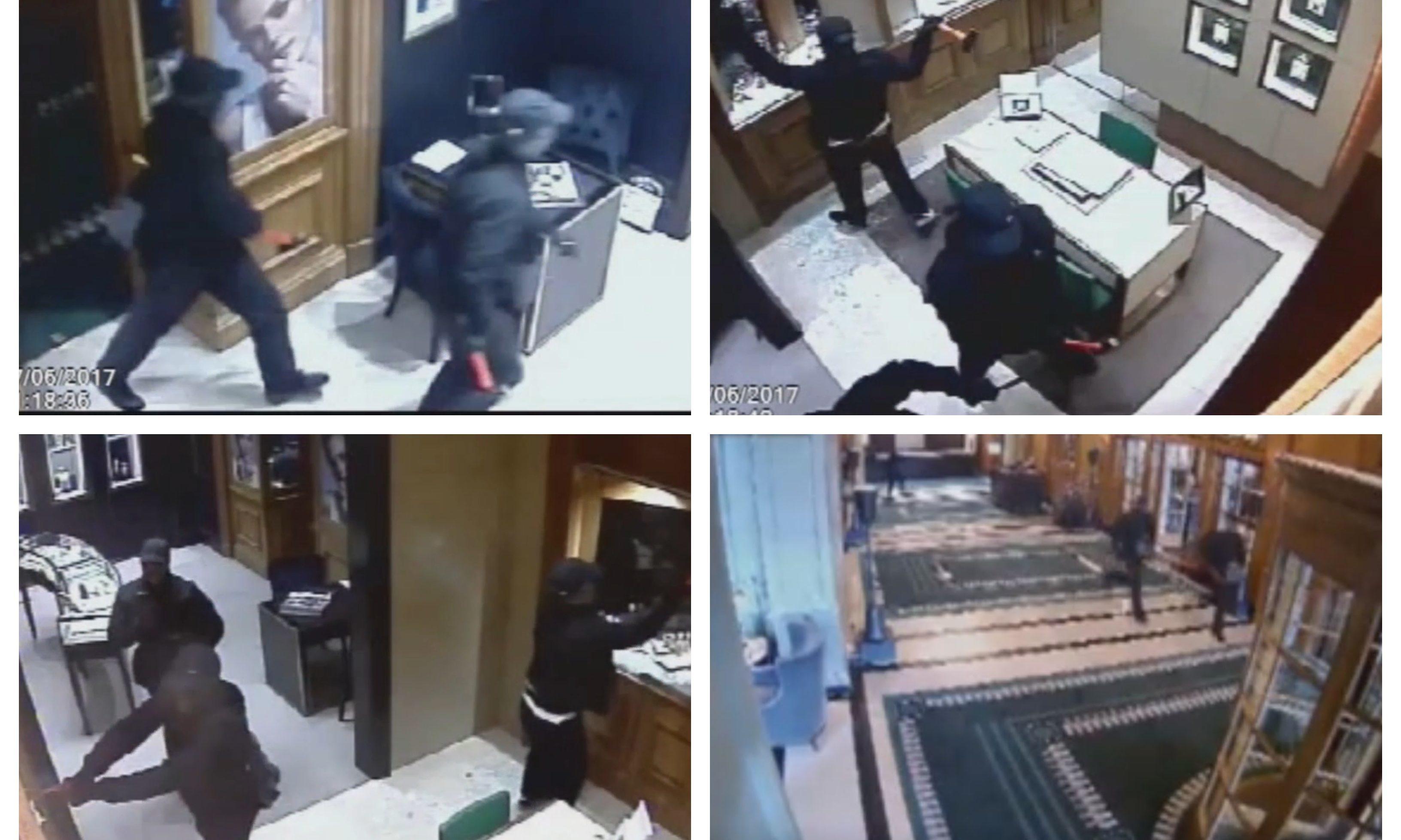 CCTV stills from the Gleneagles raid.