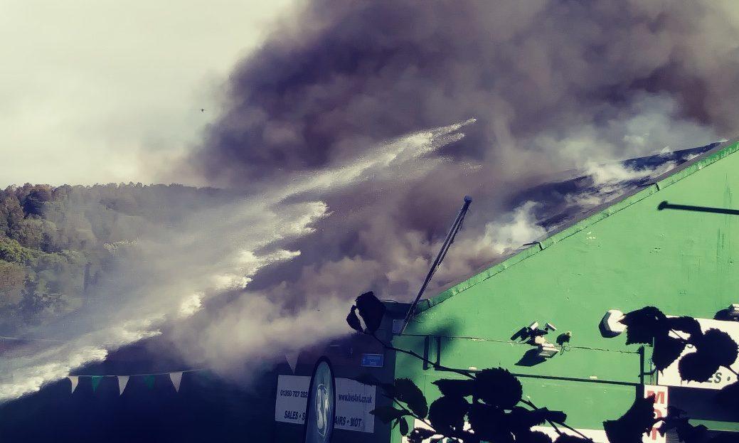The blaze rips through the garage in Birnam.
