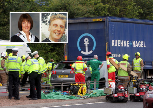 The scene on the RTA after Neil Cummings crashed into the back of a lorry after killing his wife Jane.