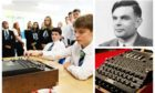 Pictured: Pupils using the touring Enigma machine/ Alan Turing/A German WW2 Enigma machine.