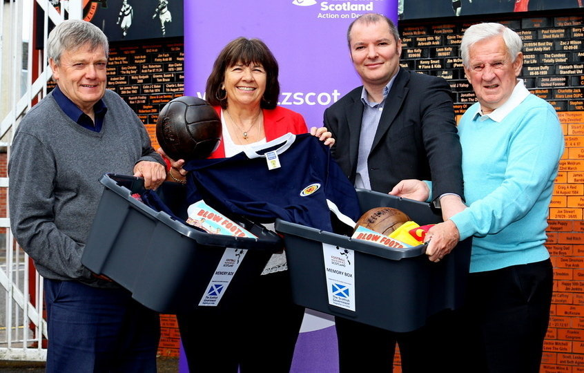 Michael White, Football Memories Scotland Project Training Co-ordinator, Amanda Kopel, Richard McBrearty, Project Director of Football Memories Scotland and Gordon Wallace at the North East Scotland regional Football Memories Conference held at Tannadice.