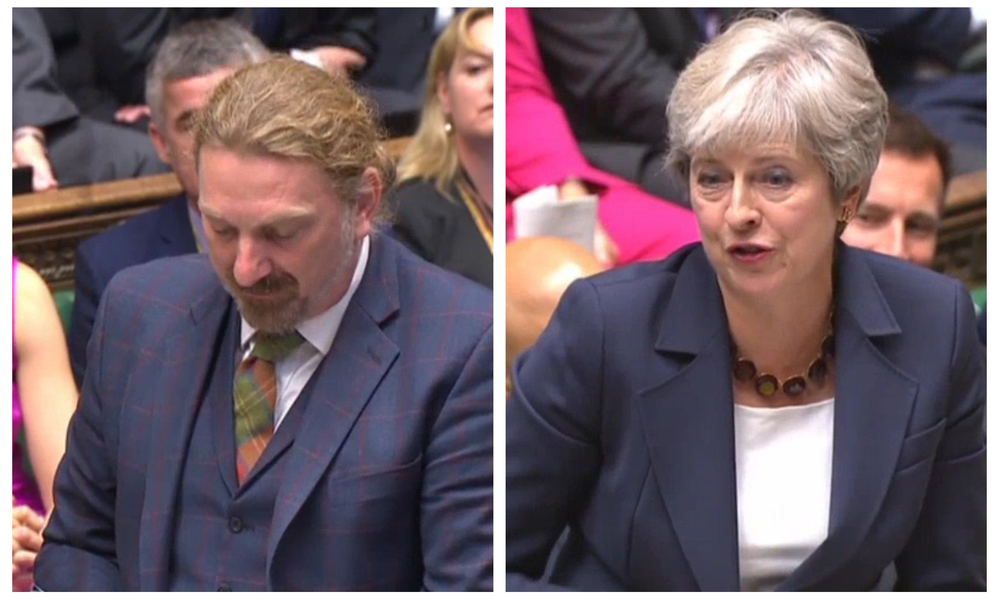 Chris Law and Theresa May during PMQs today.