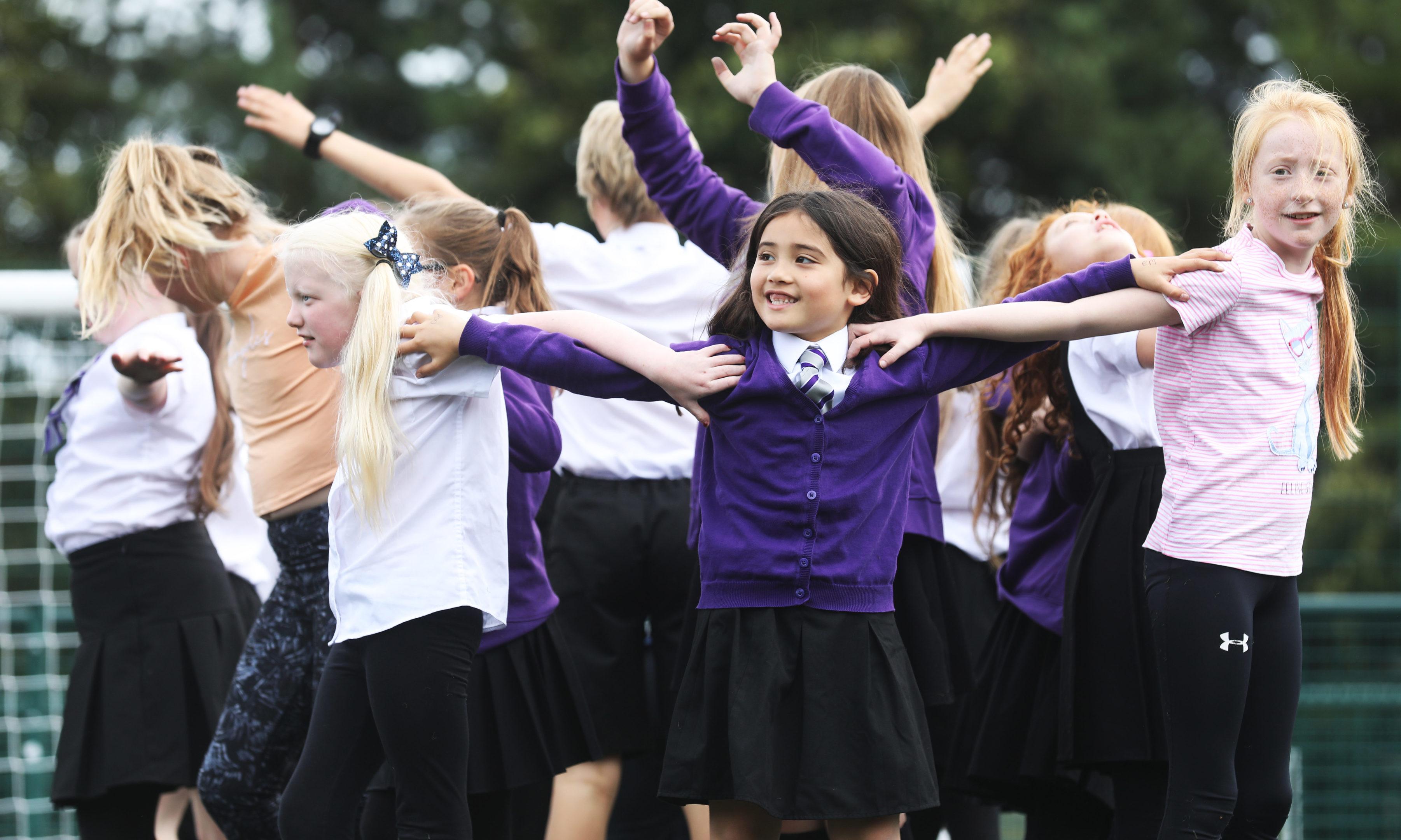 Tayview Primary School do their routine.