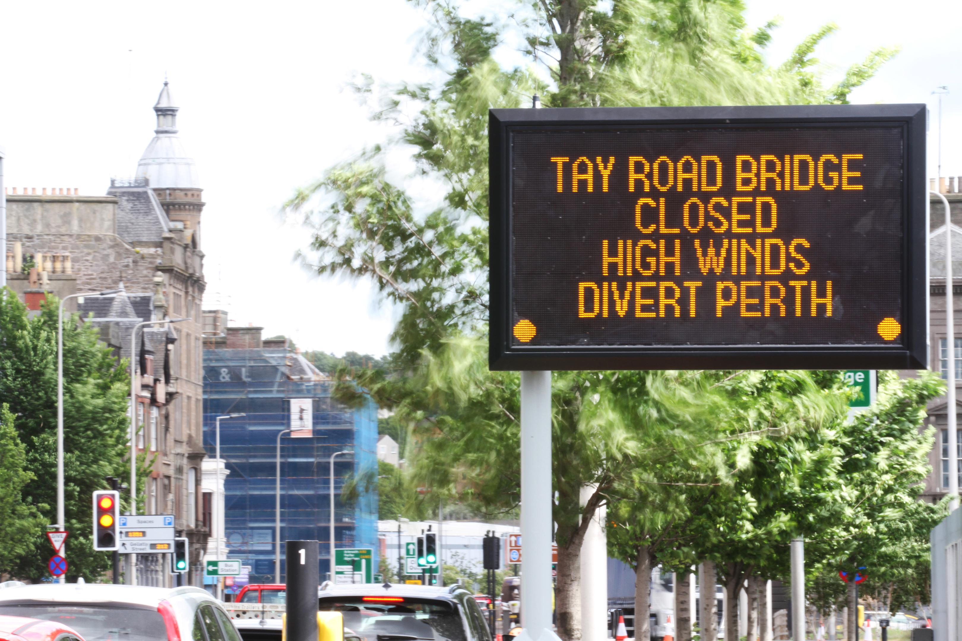 High winds closed the Tay Road Bridge.