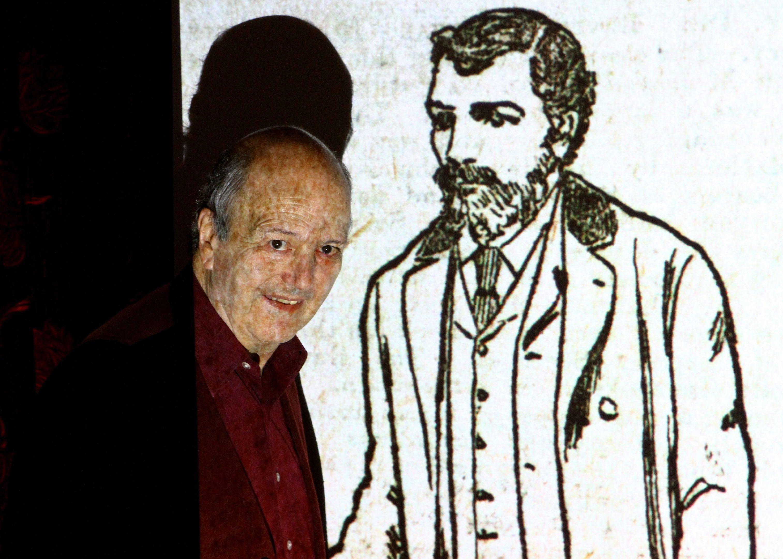 Michael Mulford beside a sketch of William Bury