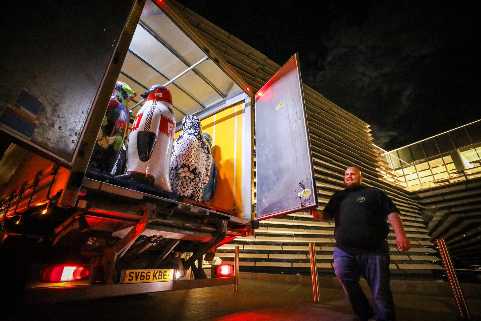 The Maggie's Penguins being taken off to their new homes after the auction in V&A Dundee.