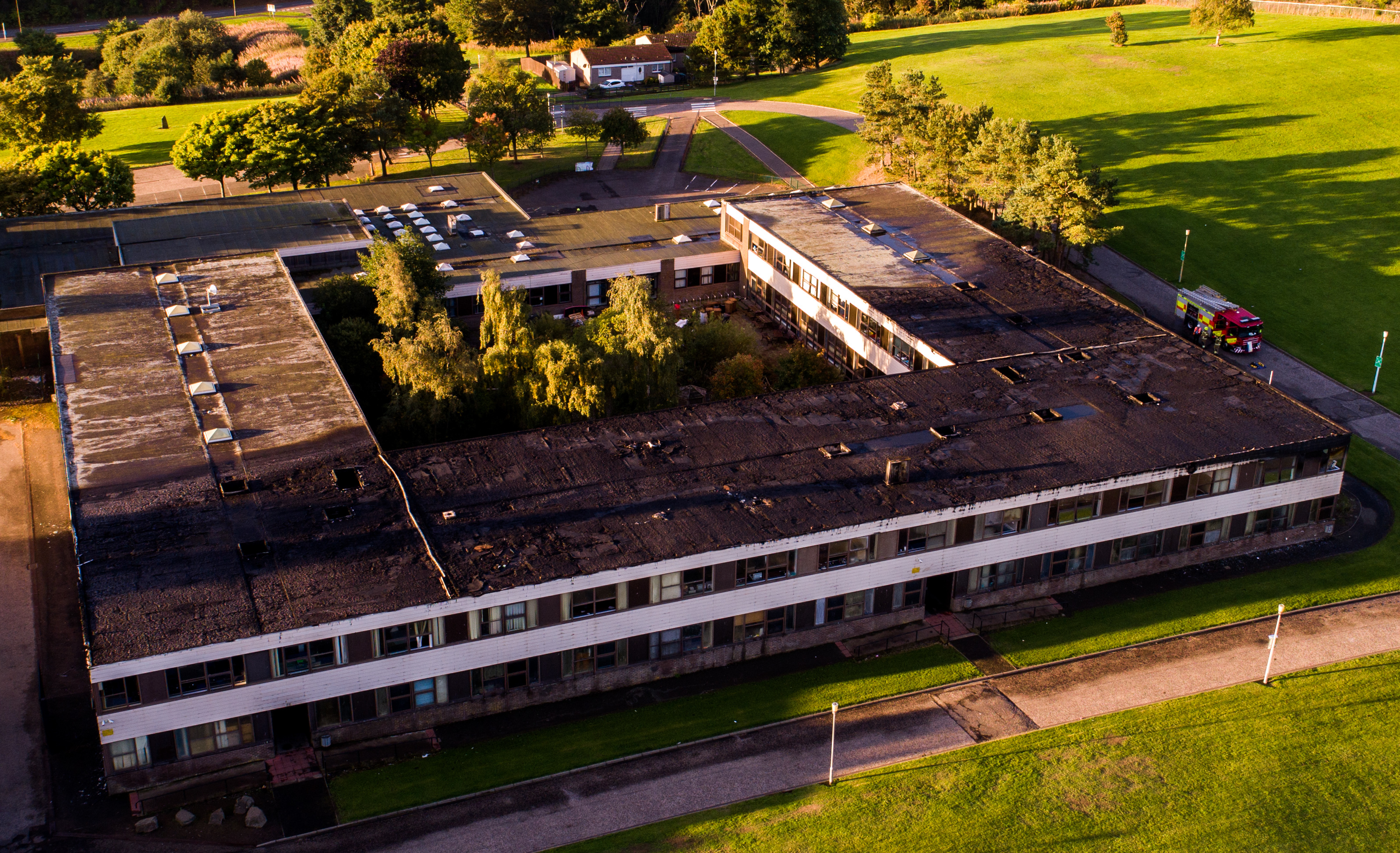 The aftermath of the fire at Braeview Academy.