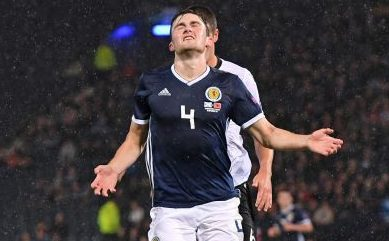 John Souttar after missing just missing a chance against Albania.