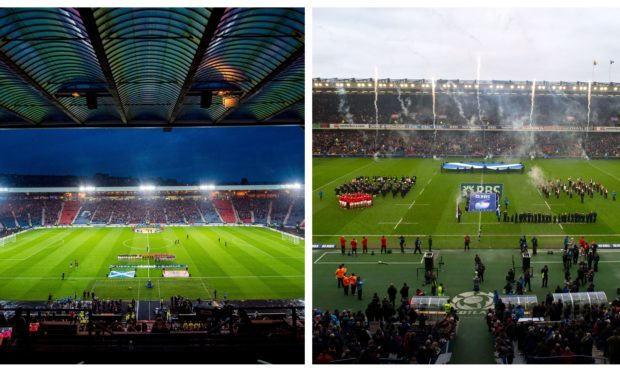 Hampden Park, left, and BT Murrayfield, right.