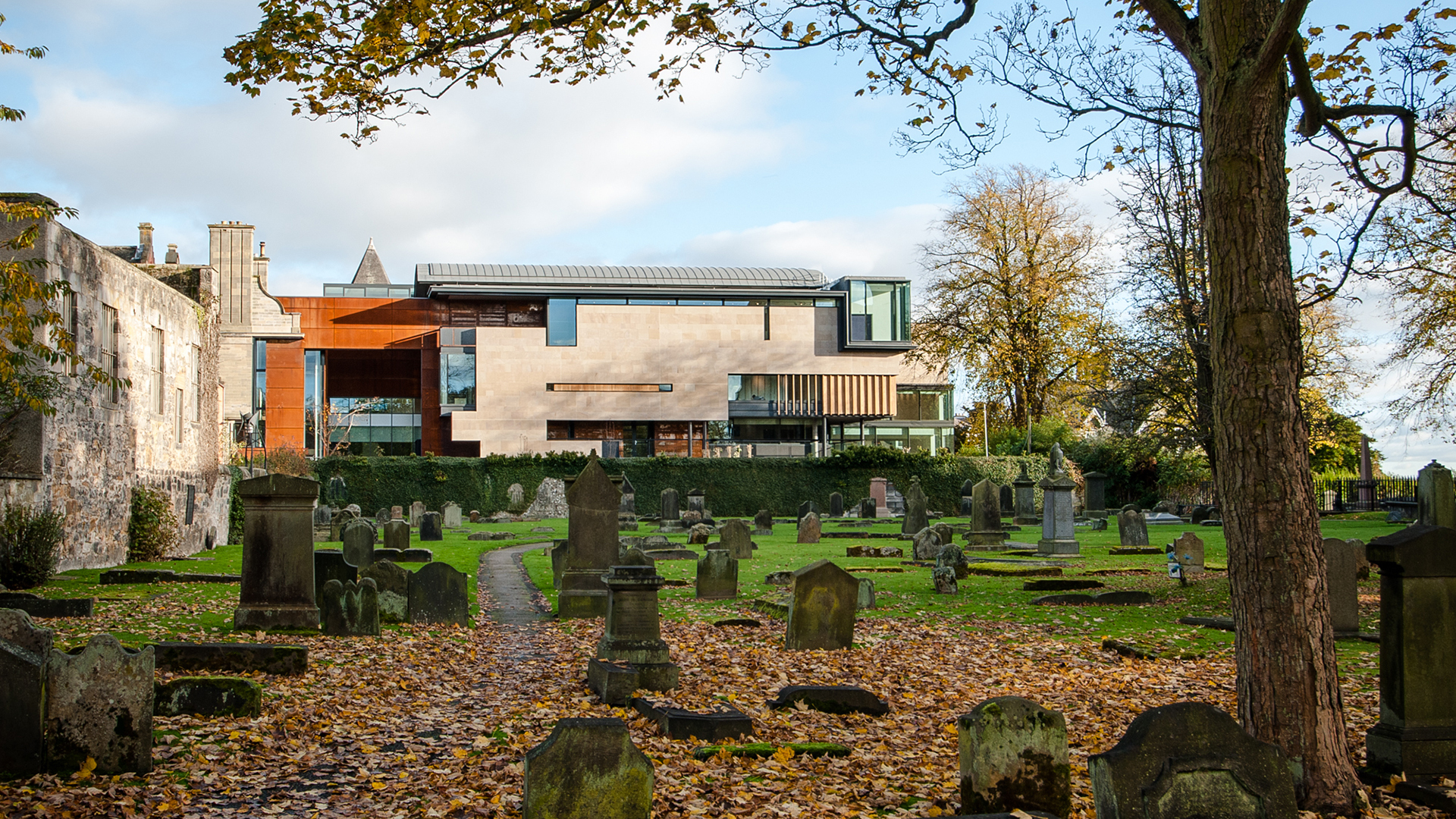 the new extension overlooking the Abbey graveyard