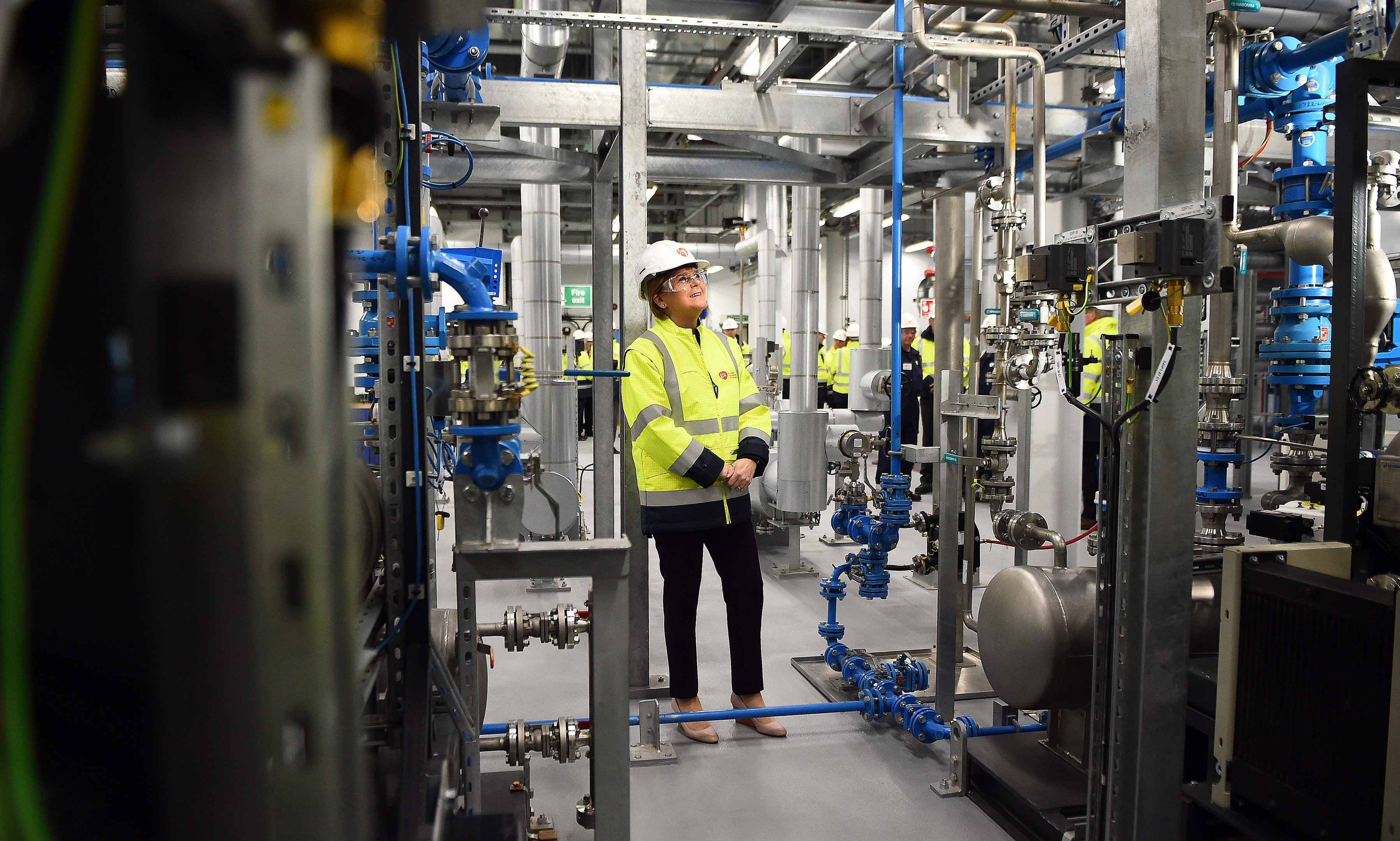 First Minister of Scotland Nicola Sturgeon takes a tour as she pays a visit to officially open GSK's new production building on October 22, 2018 in Montrose.