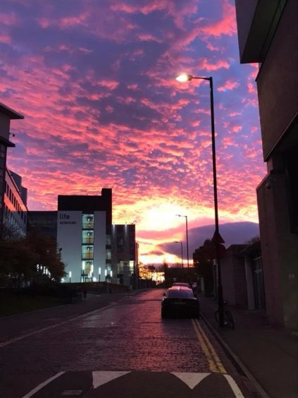 Old Hawkhill, Dundee, at sundown.