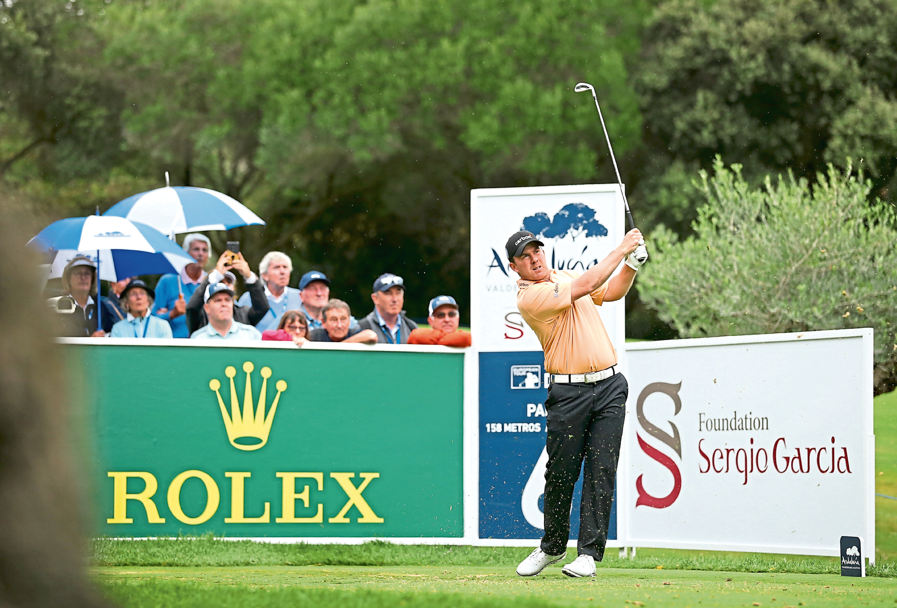 CADIZ, SPAIN - OCTOBER 20: Richie Ramsay of Scotland plays his tee shot on the 6th hole during the completion of the weather affected second round of the Andalucia Valderrama Masters at Real Club Valderrama on October 20, 2018 in Cadiz, Spain. (Photo by Luke Walker/Getty Images)