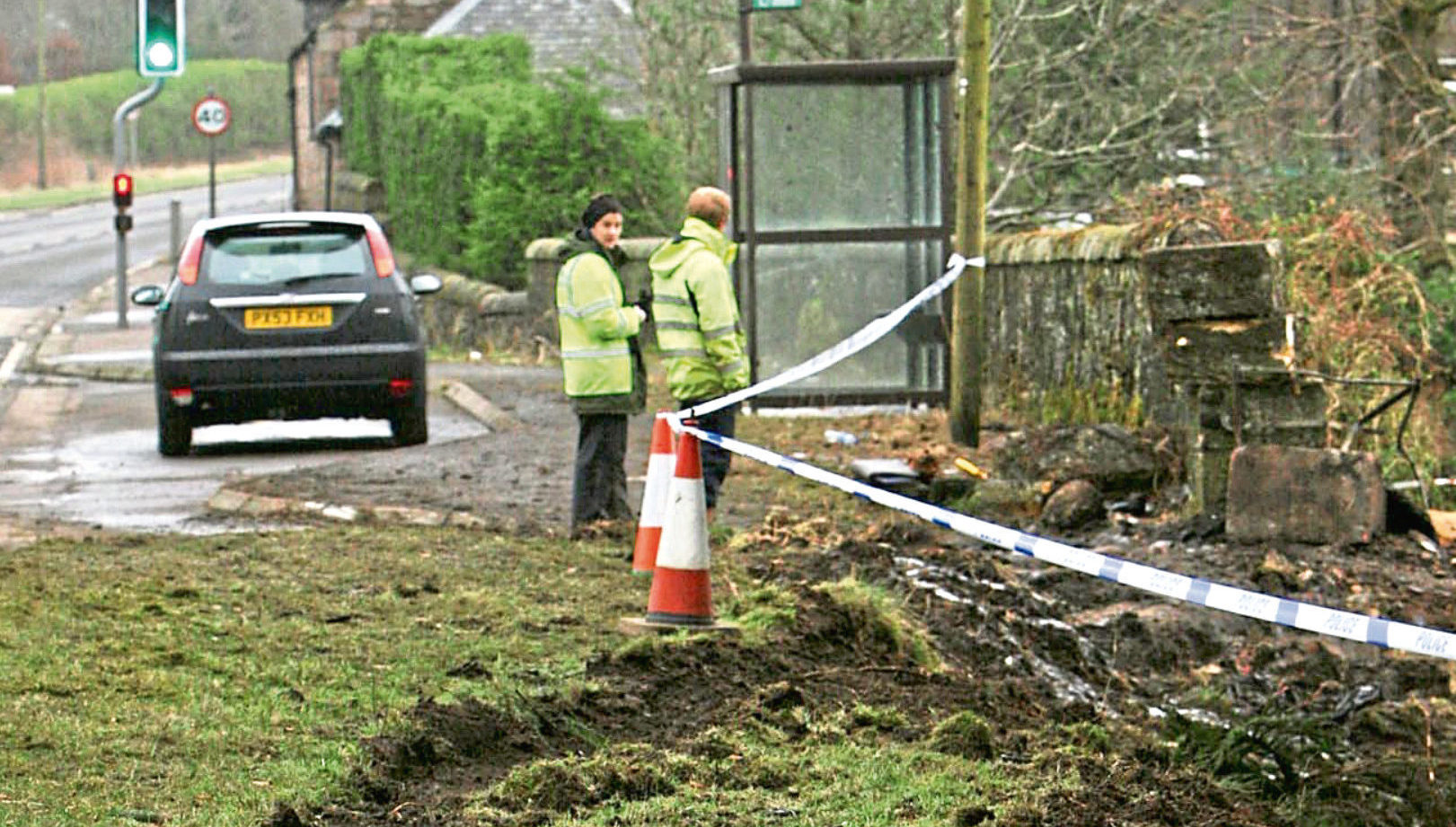 The scene of the fatal crash on the A977 at the village of Drum.