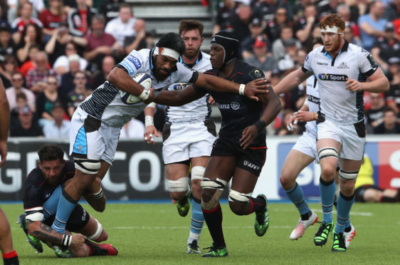 Brian Alainu'uese playing for Glasgow in their European quarter-final at Saracens in 2017.