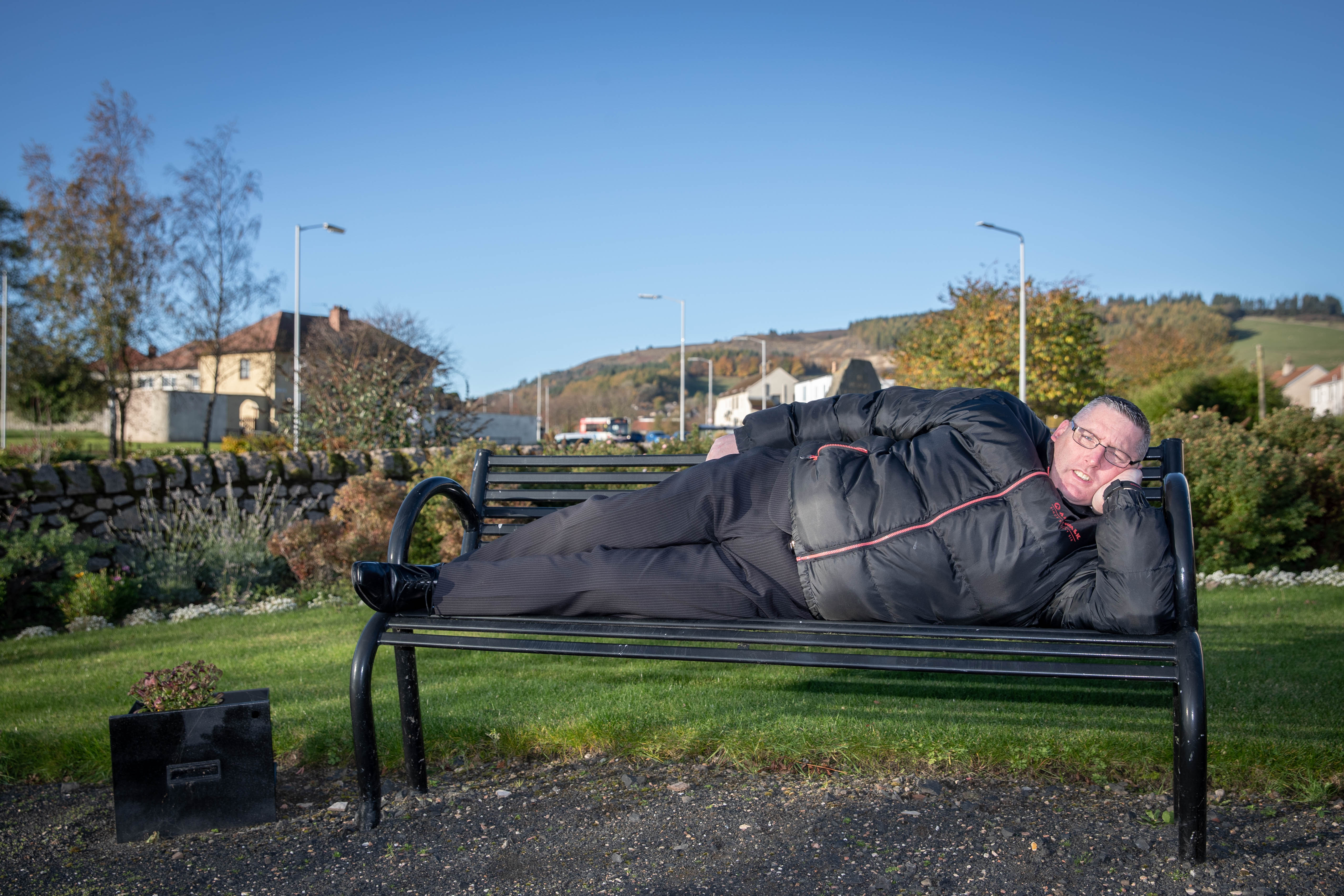 Funeral director Harry Webster at Benarty Miners Memorial Garden where Harry is going to be sleeping rough for 24 hours in December to raise funds for the Salvation Army in Lochgelly