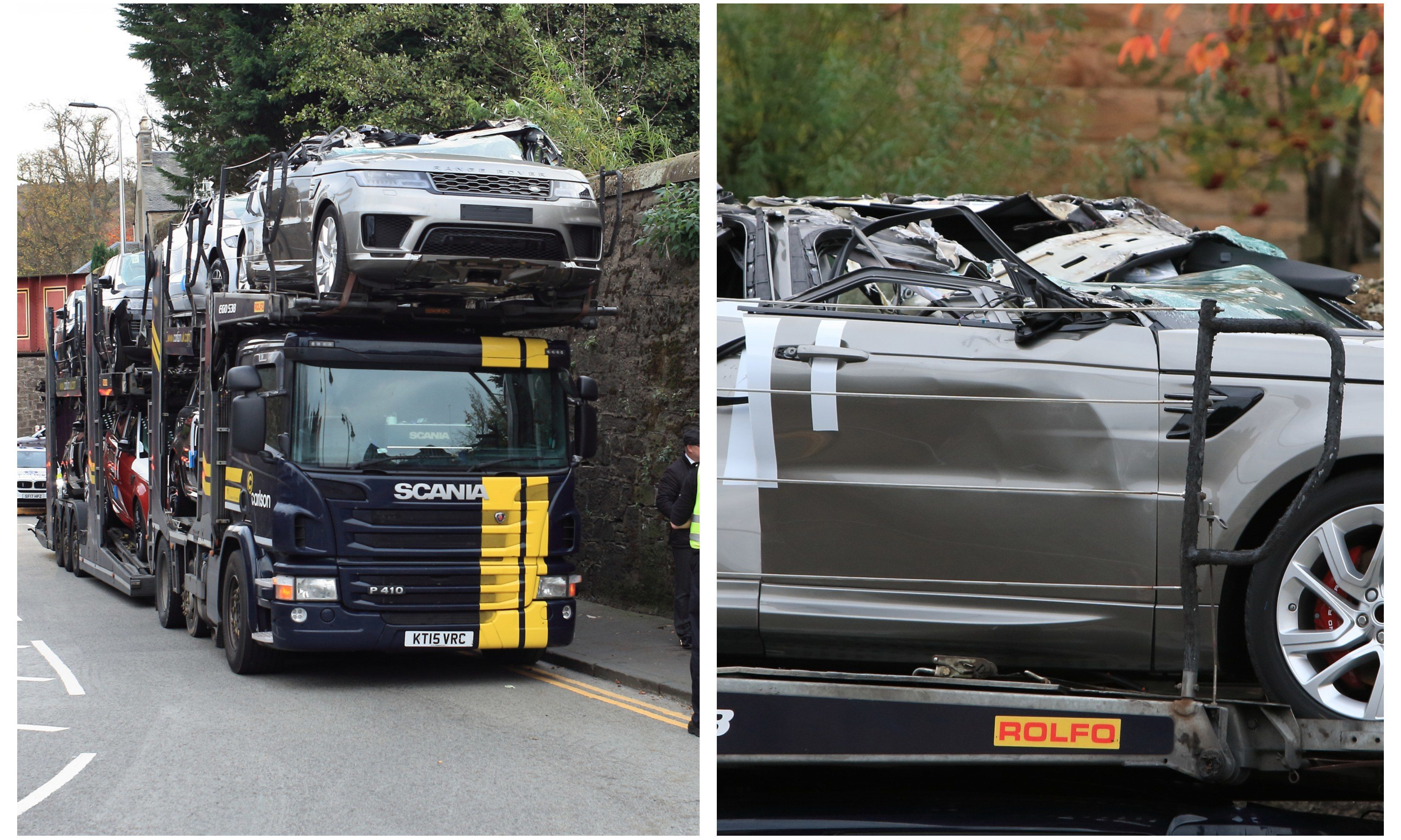 The car transporter after striking a railway bridge in Perth.