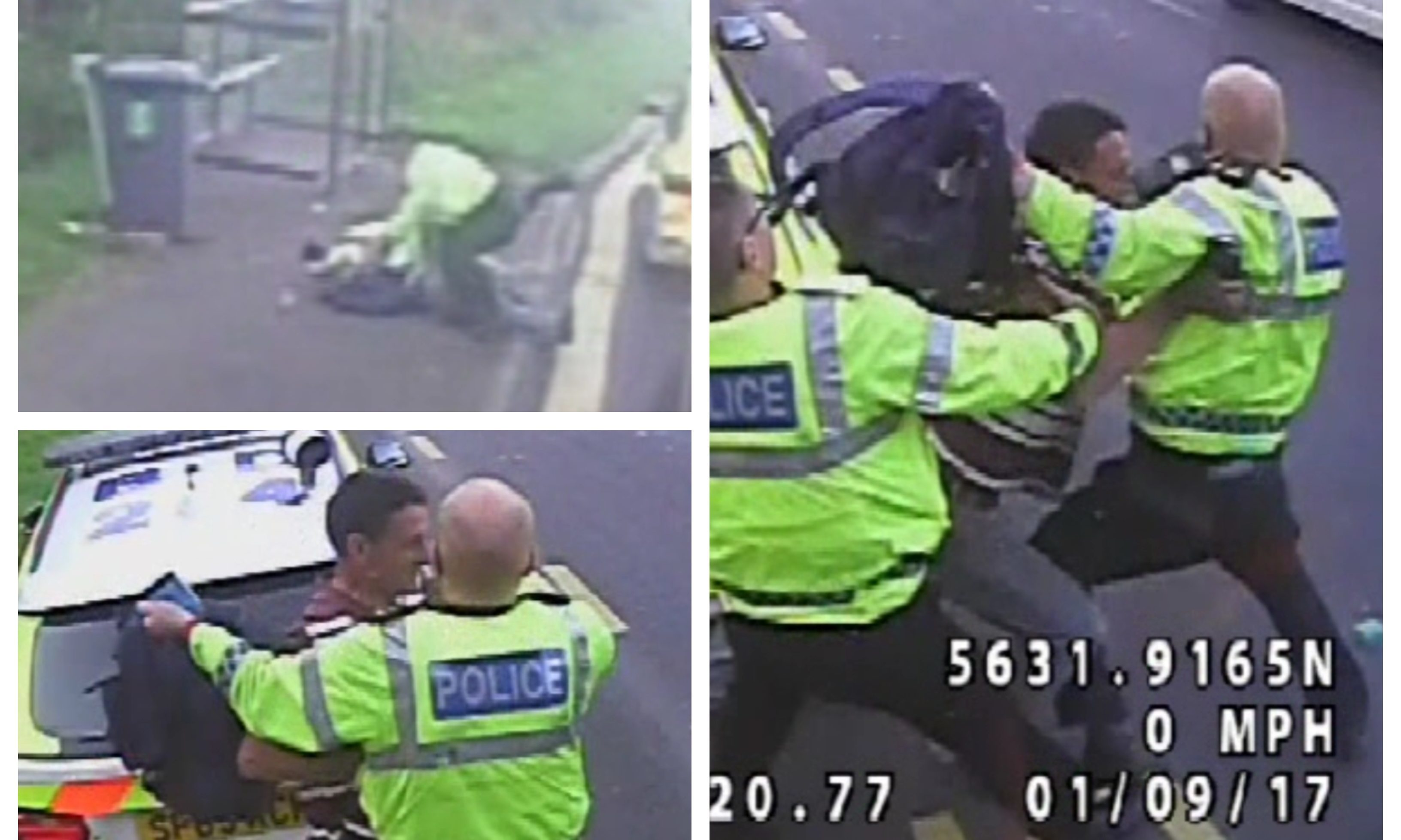 CCTV footage captured the shocking moment a police officer was almost thrown on to the A90.