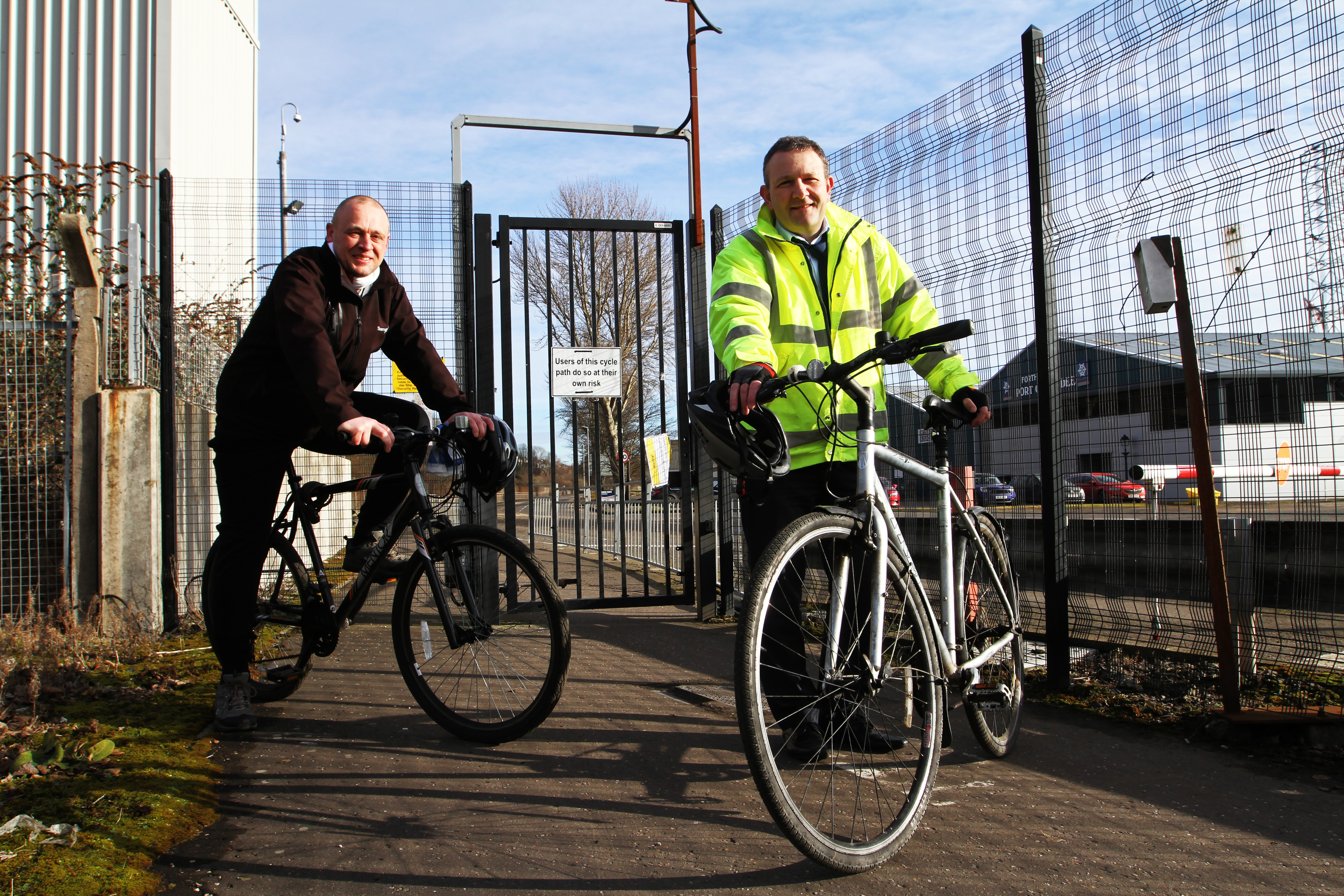 Councillor Kevin Cordell, cycling spokesperson and John Berry, sustainable transport team leader at the cycle route through Dundee docks.