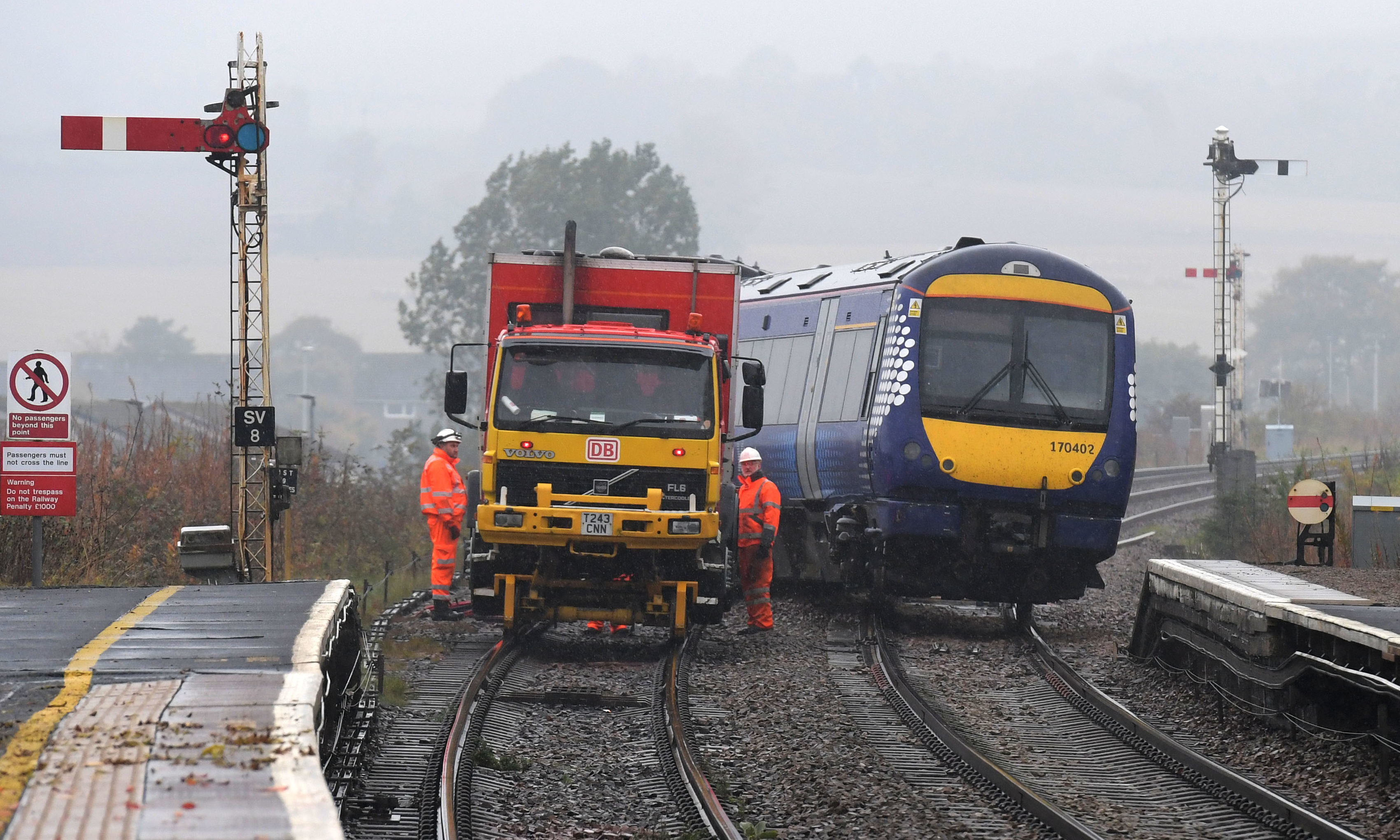 The derailed train at Stonehaven Station.