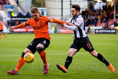 Fraser Fyvie holds off Aidan Connolly.