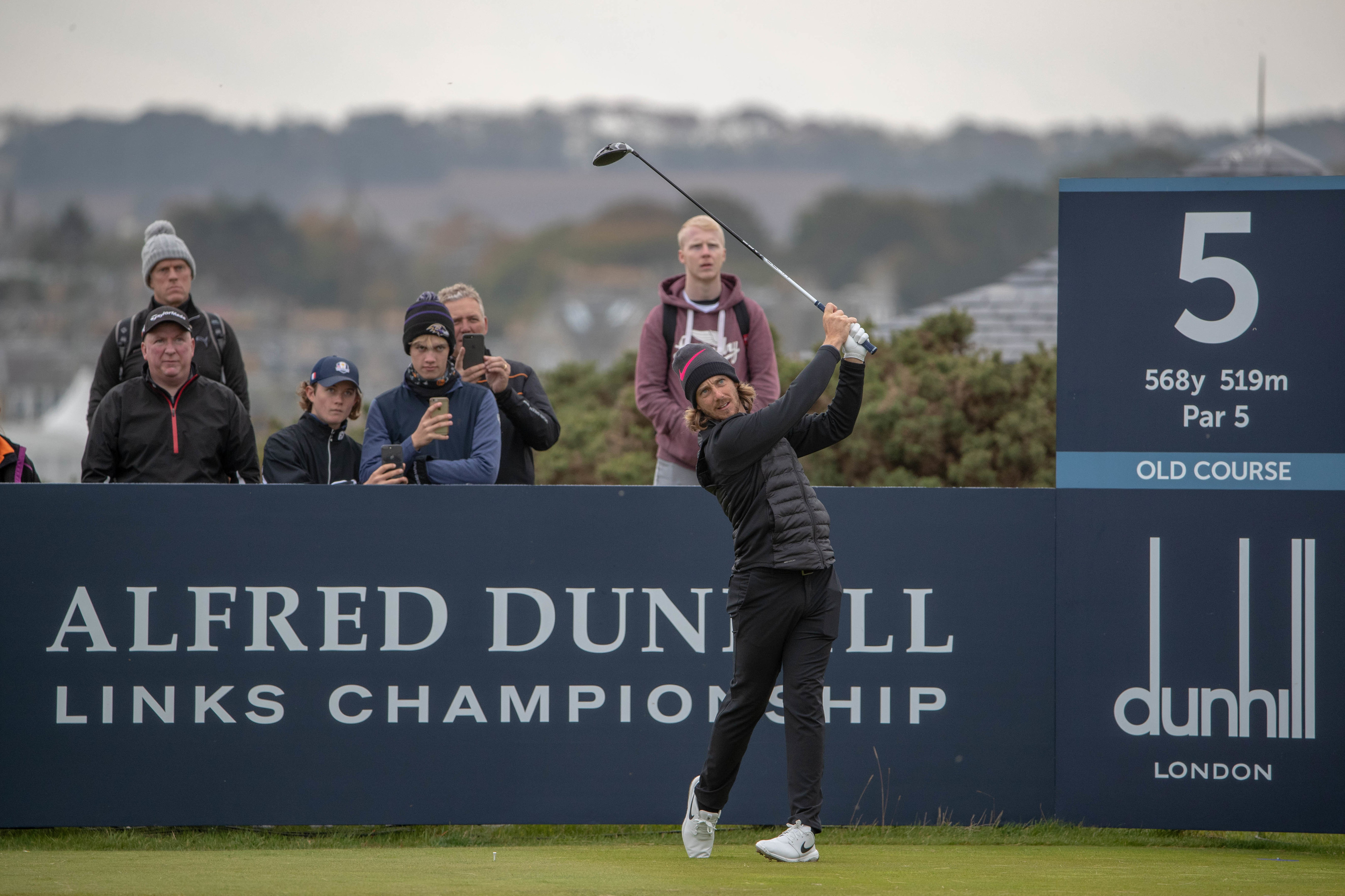 Tommy Fleetwood tees of the fifth hole of the Old Course in practice for the Dunhill Links.