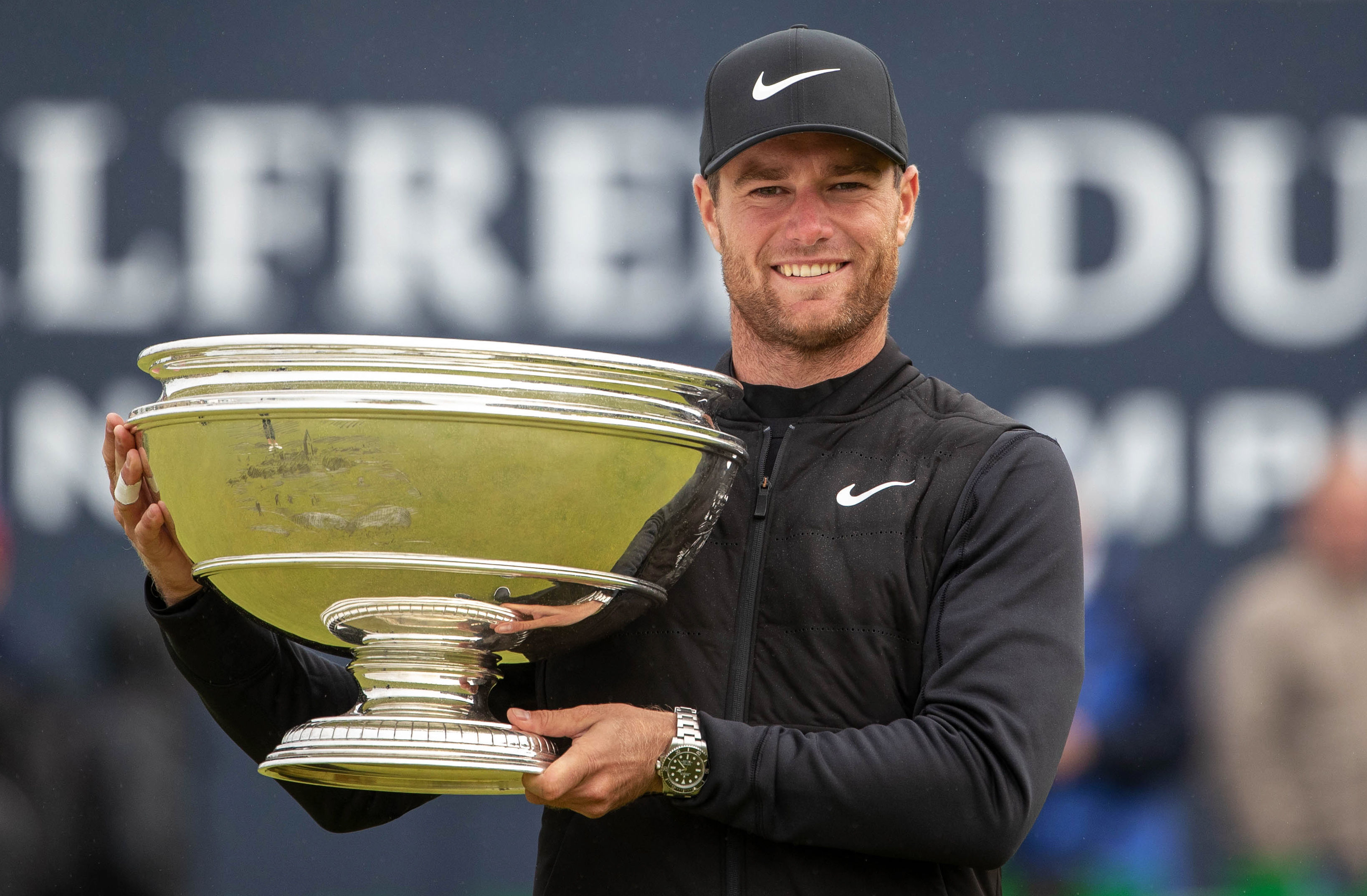 Luca Bjerregaard with the Alfred Dunhill Links Championship Trophy.