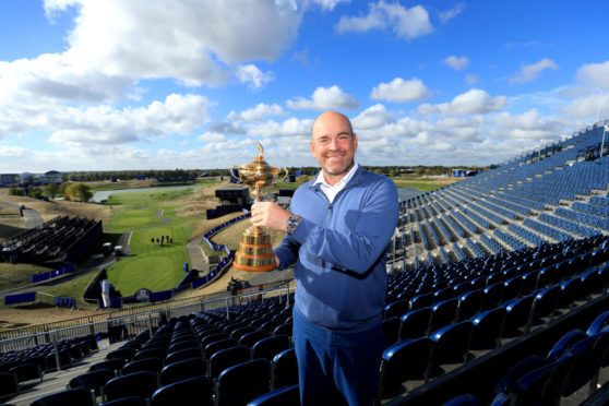 The morning after: Thomas Bjorn back at Le Golf National with the Ryder Cup won by his team on Sunday.
