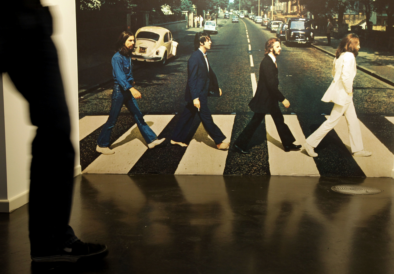 Iain MacMillan's famous Abbey Road photo exhibited at a Beatlemania exhibition in Hamburg, Germany.