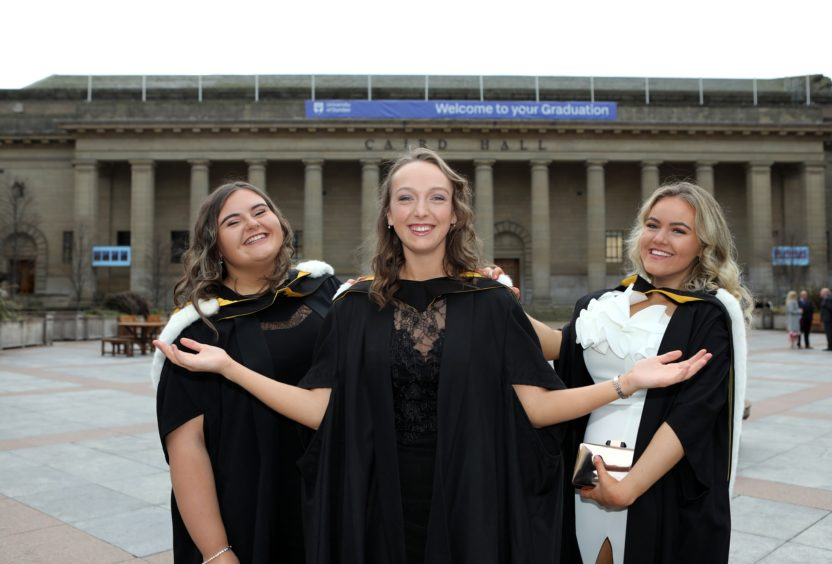 Hannah Brown, Hannah Malone and Eimear Goodman, all from Dundee, graduate in nursing.