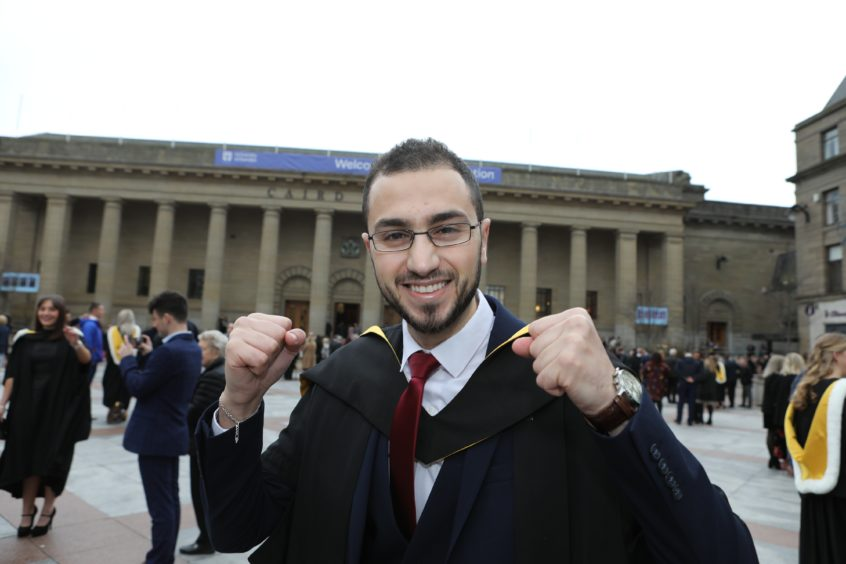 Rawad Qaq, a Syrian refugee who had to flee his home country because of war graduates in Forensic Dentistry.