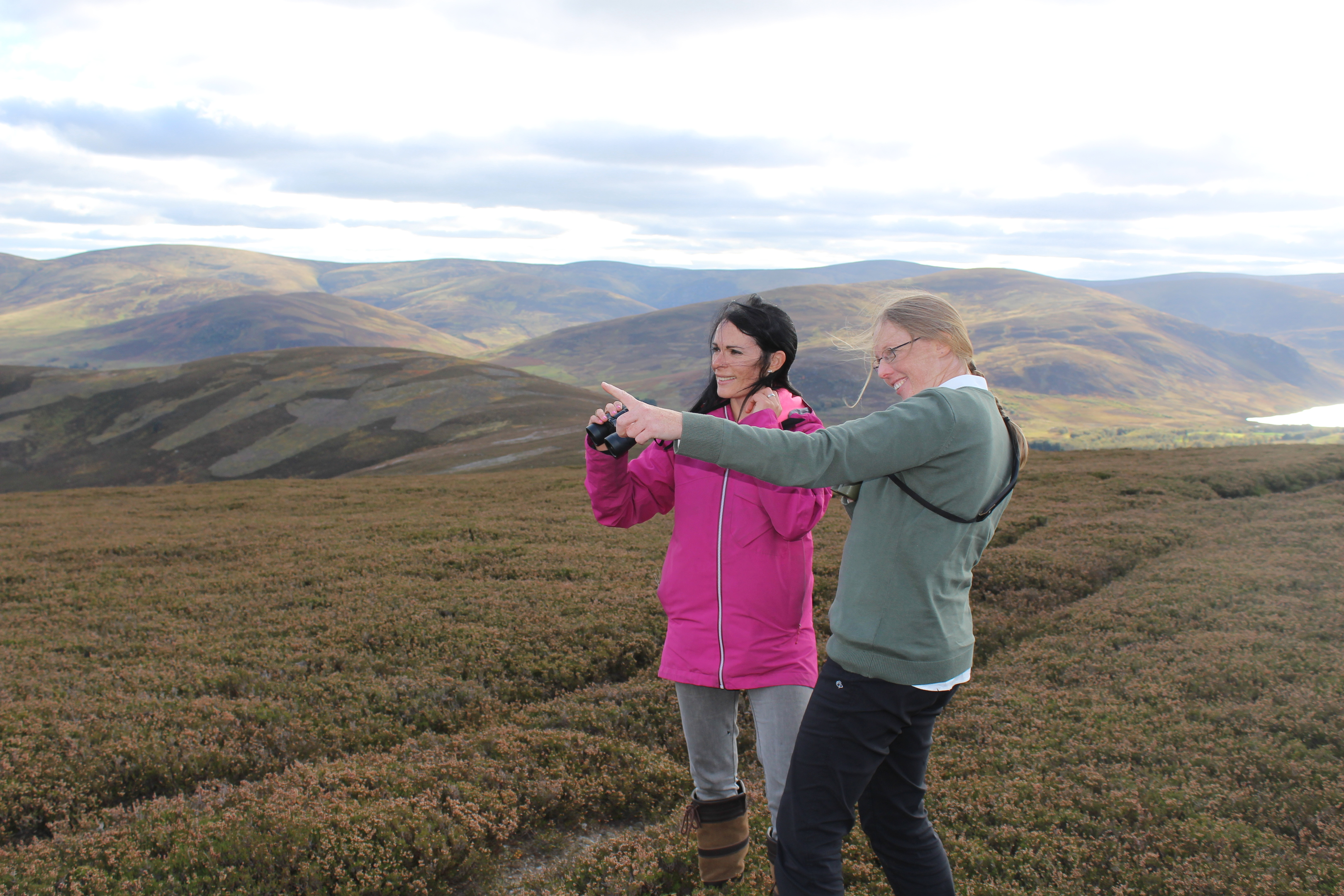 Glenesk Wildlife tour guide Jackie Taylor points out some red deer in the distance.