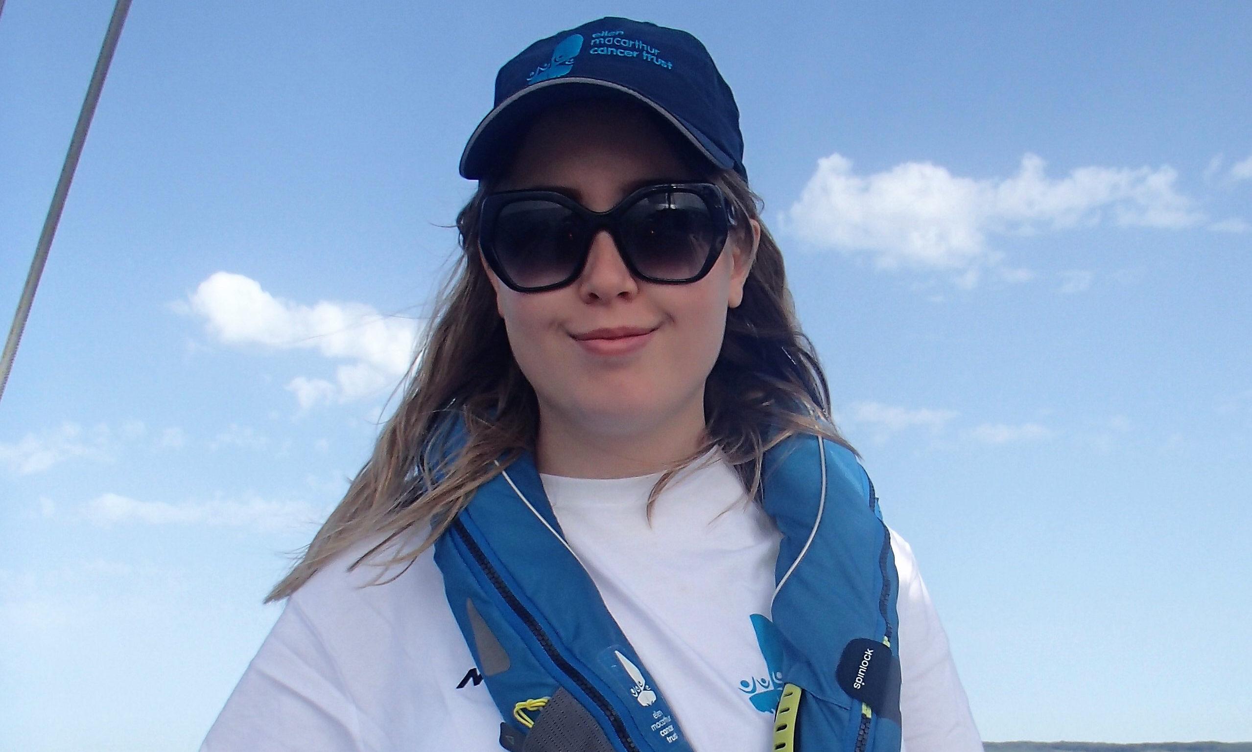 Iona Sutherland enjoying her sailing experience.
