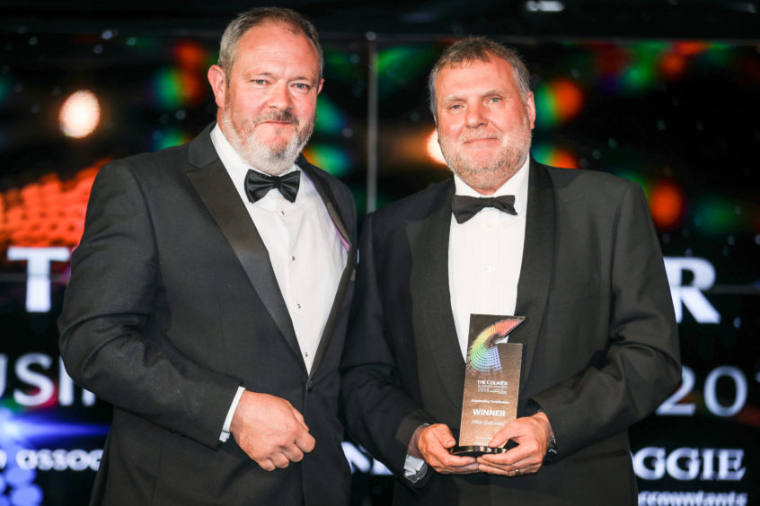 Richard Neville, left, with Outstanding Contribution winner Mike Galloway.