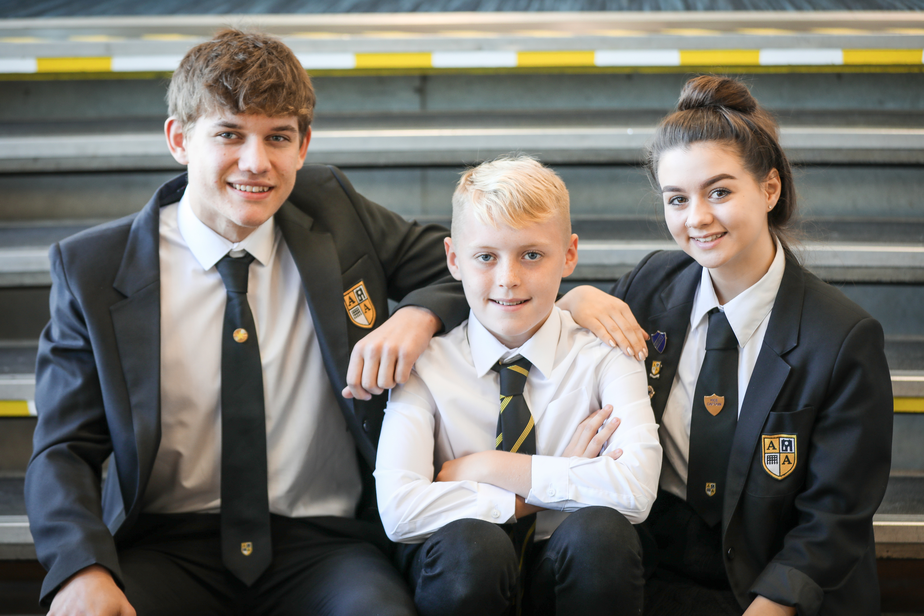 Arbroath Academy pupils Igor Spurek, Rory Cargill and Beth Ritchie are working on the mentoring programme.