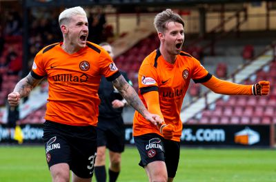 Fraser Aird and Billy King (right) celebrate the latter's goal.