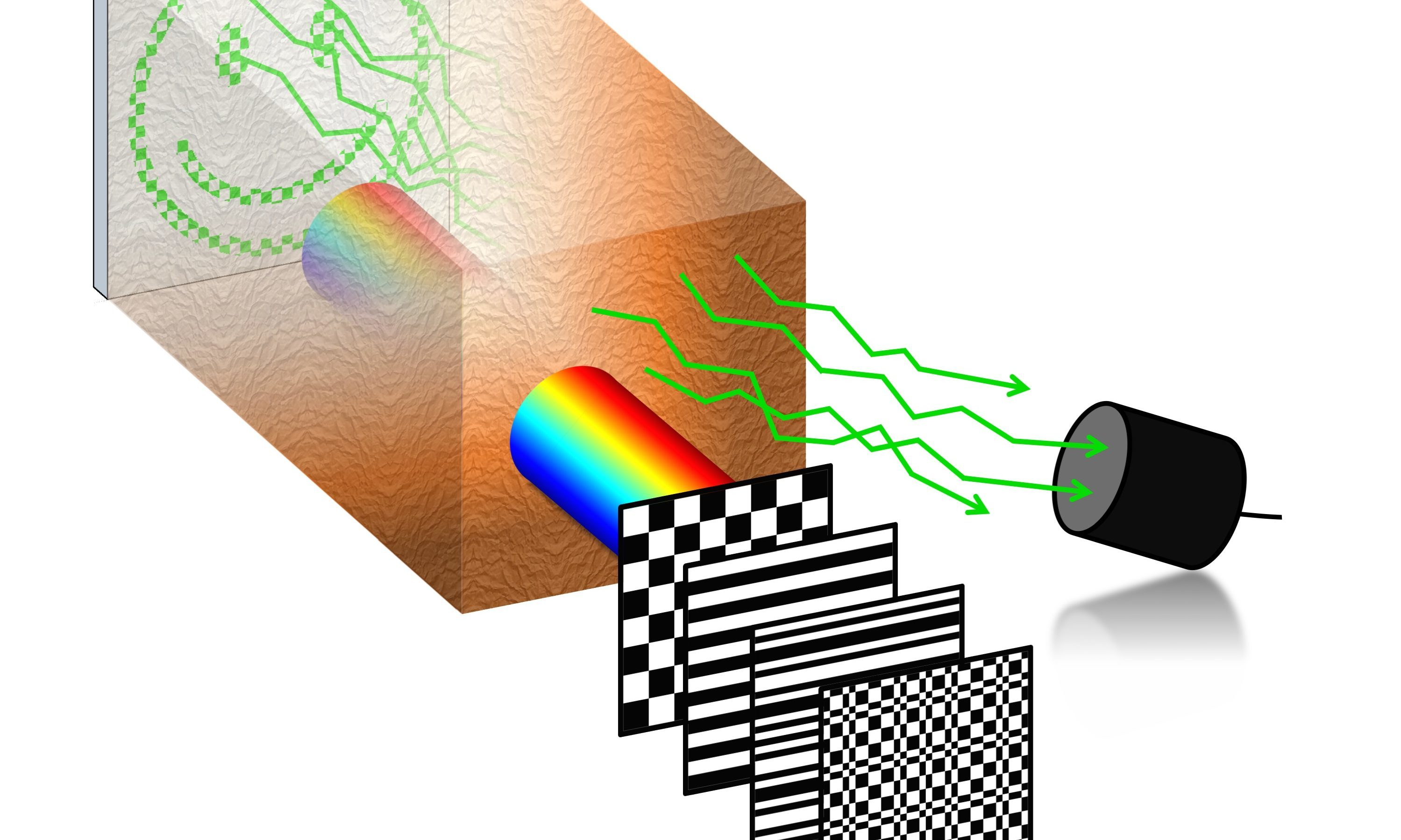 Laser light patterns are sequentially focused in time onto a region of interest inside biological tissue. Fluorescence emitted by the sample under each illumination pattern is collected with a single-pixel detector after passing back through the tissue. By adding up the projected patterns weighted by the intensities recorded, an image of the sample can be reconstructed.