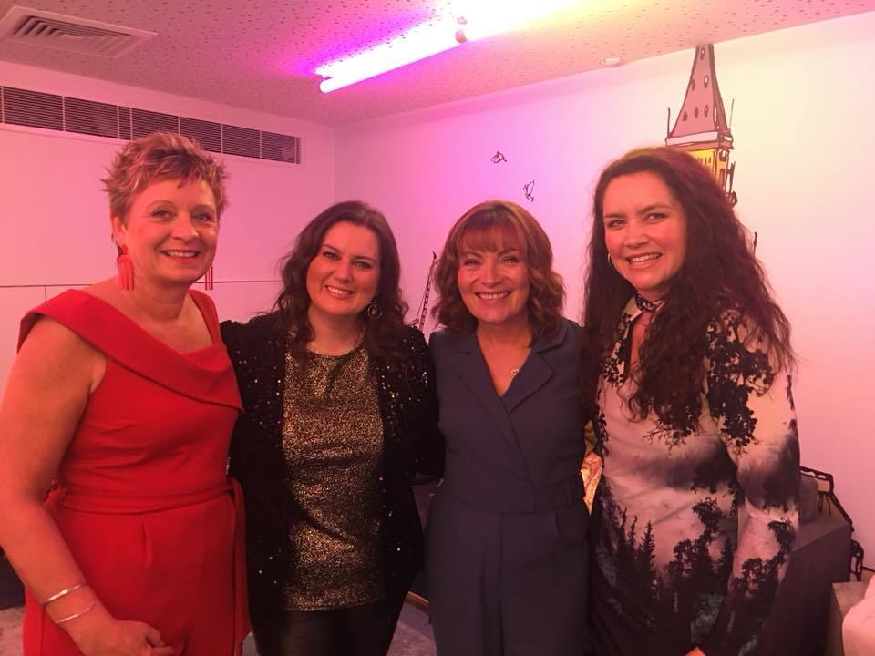 Karen Morrison (right) with Lorraine Kelly and other finalists Karen Williams and Andrea Smith.