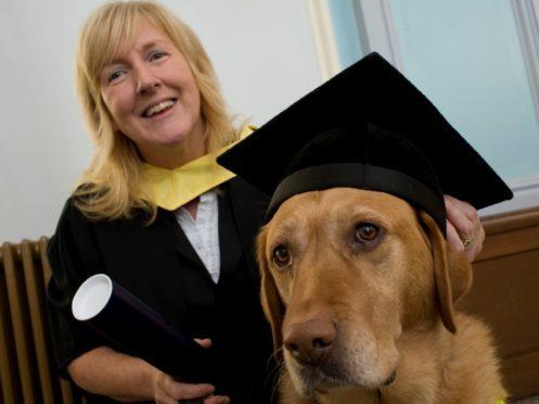 Dr Mhairi Thurston and guide dog Wanda