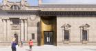 Graphic of City Hall showing gold-coloured entrance door.