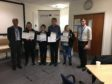Angus Council strategic director Mark Armstrong with Saltire Award recipients Caitlin Milne, Cameron Graham, Thomas Reeves, Courtney Wilson and Councillor Ben Lawrie.